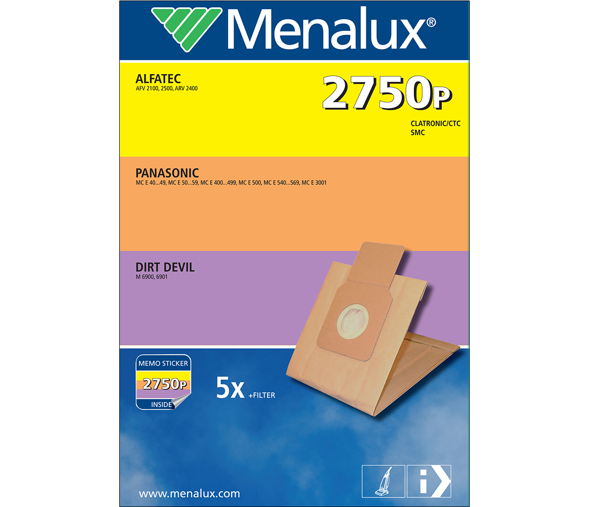 Menalux 2750 P Staubsaugerbeutel für Alfatec Clatronic Dirt Devil Panasonic